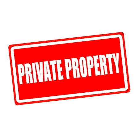 private property: Private property white stamp text on red backgroud
