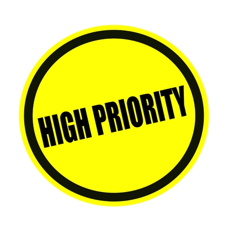 precedence: High priority black stamp text on yellow