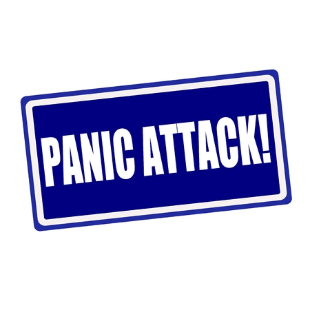 Panic attack white stamp text on blue background