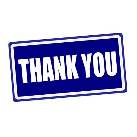 gratefulness: Thank you  white stamp text on blue background
