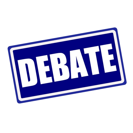 deliberation: Debate white stamp text on blue background