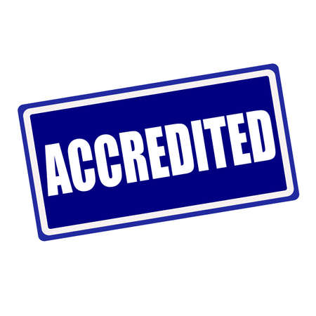 accredited: Accredited white stamp text on blue background Stock Photo