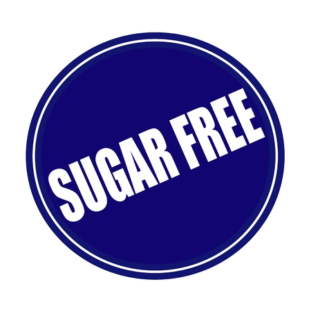 Sugar free white stamp text on blue