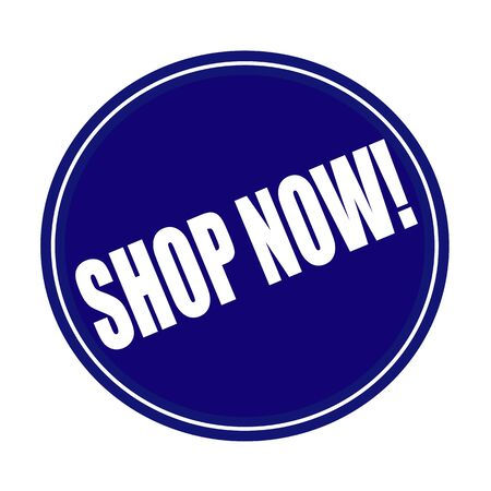 advertised: Shop now white stamp text on blue