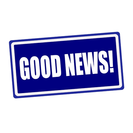 key words art: Good news white stamp text on blue background