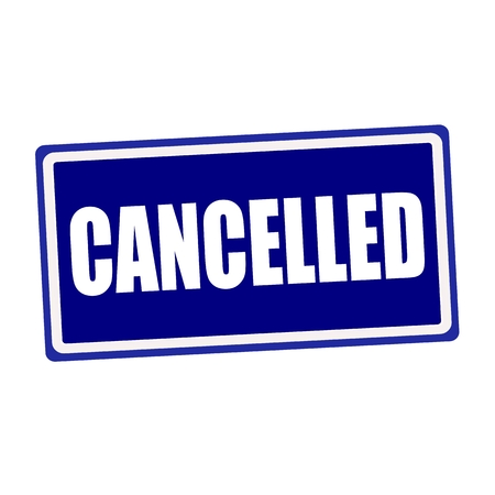 cancelled: Cancelled white stamp text on blue background