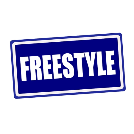 stylishness: Freestyle white stamp text on blue background Stock Photo