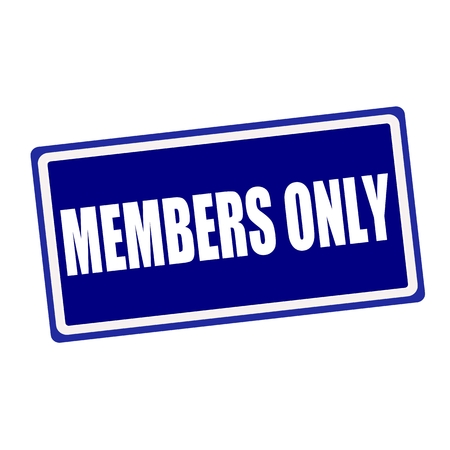 closed club: Members only white stamp text on blue background