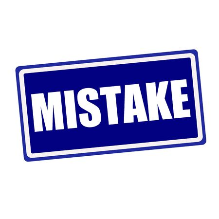 fallacy: Mistake white stamp text on blue background