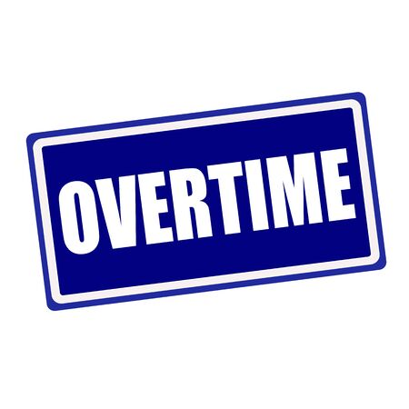 Overtime white stamp text on blue background