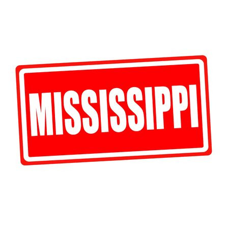 backgroud: Mississippi white stamp text on red backgroud
