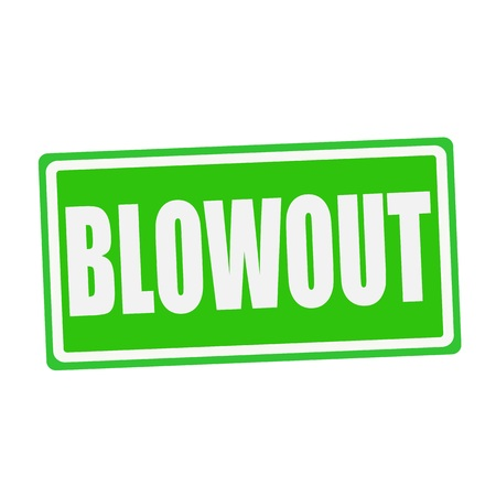 blowout: BLOWOUT white stamp text on green Stock Photo