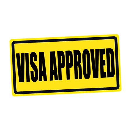 visa approved: Visa approved black stamp text on yellow Stock Photo