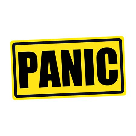 dismay: Panic black stamp text on yellow Stock Photo