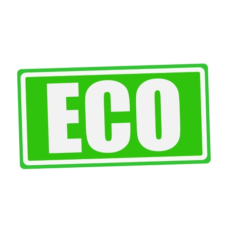 els: ECO white stamp text on green