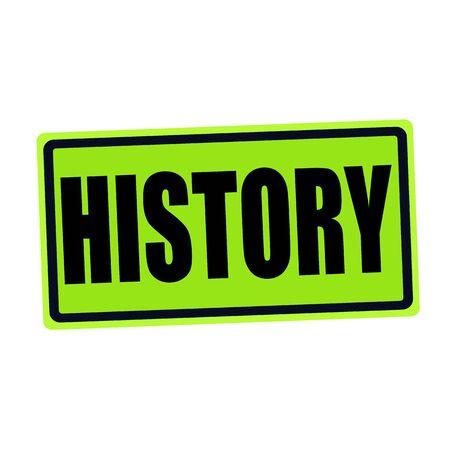 fib: HISTORY black stamp text on green