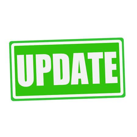 refurbish: UPDATE white stamp text on green Stock Photo