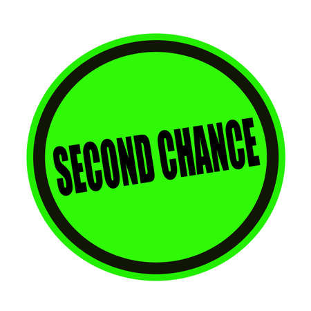 luckiness: Second chance black stamp text on green Stock Photo