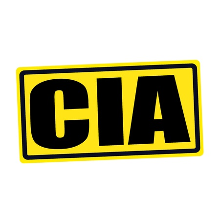 conspire: Cia black stamp text on yellow Stock Photo