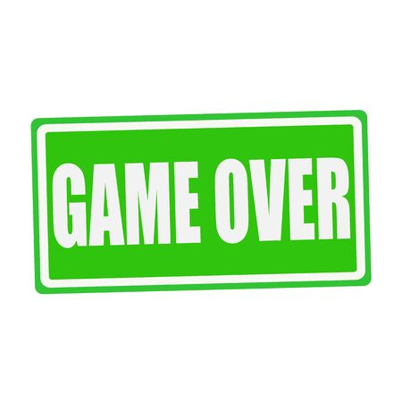 concluded: GAME OVER white stamp text on green