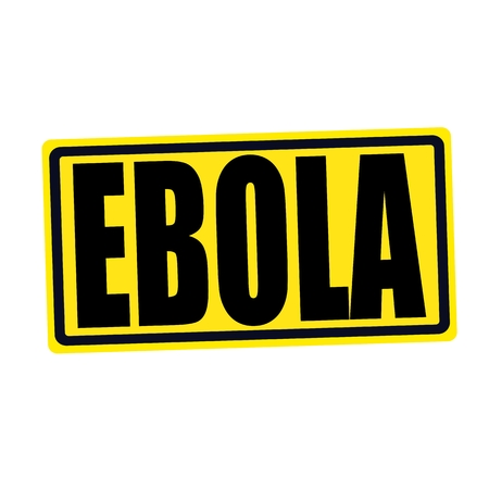 h1n1 vaccination: EBOLA black stamp text on yellow Stock Photo