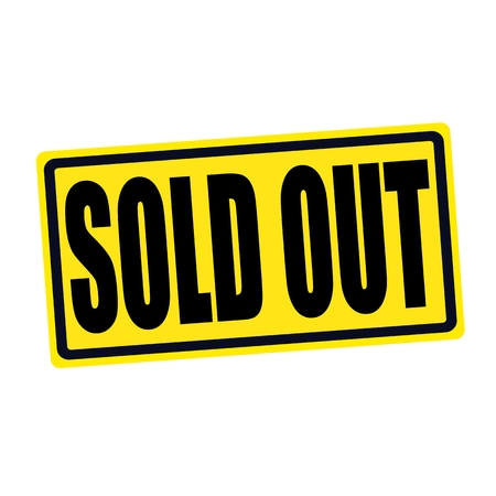 SOLD OUT black stamp text on yellow Stockfoto