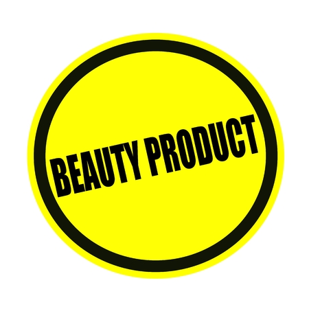 beauty product: Beauty product black stamp text on yellow Stock Photo