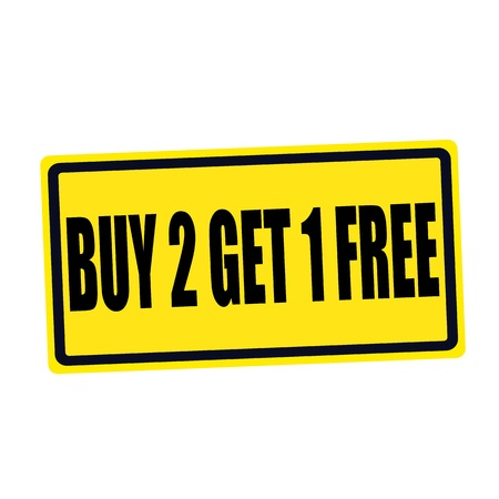 1: Buy 2 get 1 free black stamp text on yellow