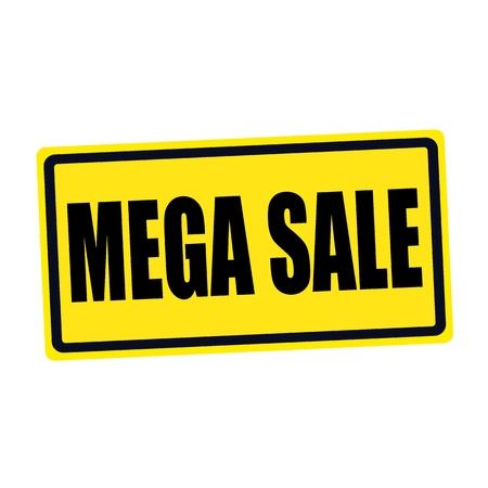 abatement: Mega sale black stamp text on yellow