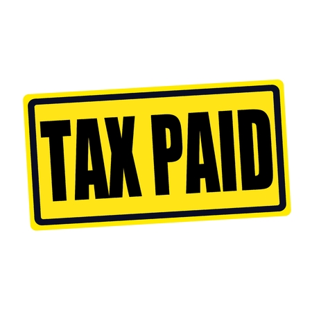 paid: Tax paid black stamp text on yellow