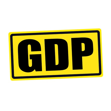 approval rate: GDP black stamp text on yellow Stock Photo