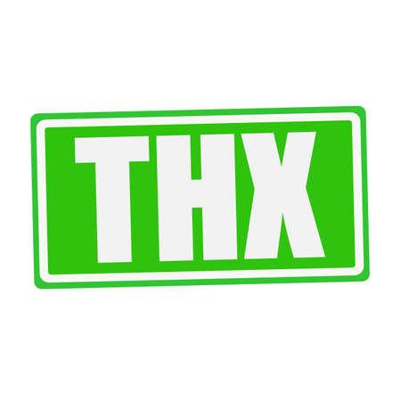 agradecimiento: Texto THX sello blanco en verde