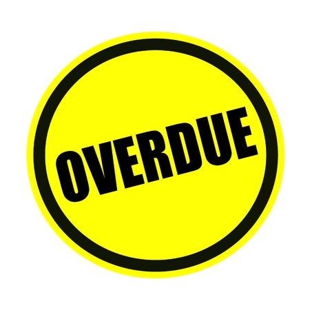 overdue: Overdue black stamp text on yellow Stock Photo