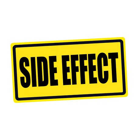 side effect: Side effect black stamp text on yellow