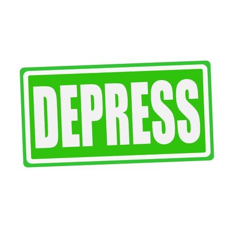 depress: DEPRESS white stamp text on green Stock Photo