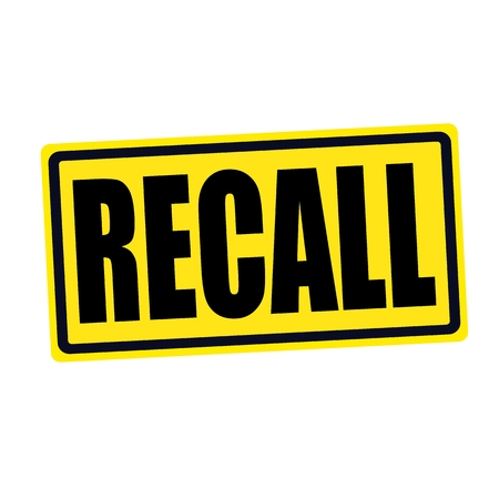 recall: Recall black stamp text on yellow