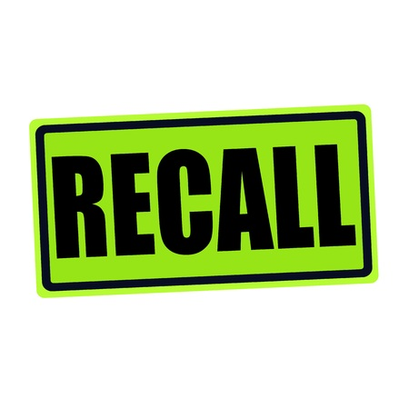Mention: RECALL black stamp text on green