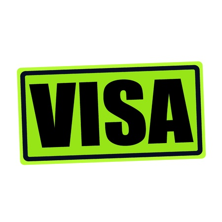 VISA black stamp text on green
