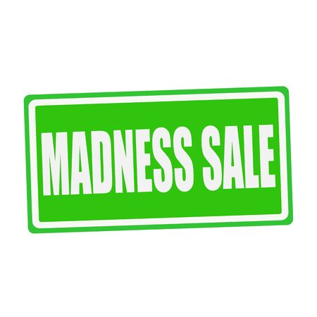 folie: MADNESS SALE white stamp text on green