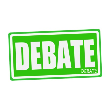 deliberation: DEBATE white stamp text on green