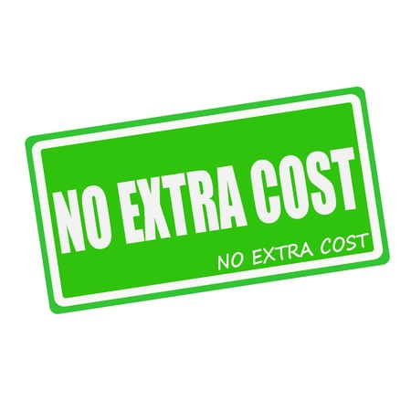 supplemental: NO EXTRA COST white stamp text on green