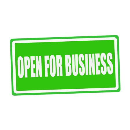 open business: OPEN FOR BUSINESS white stamp text on green Stock Photo