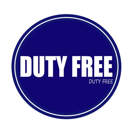 free button: DUTY FREE white stamp text on blue