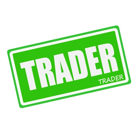 trader: TRADER white stamp text on green Stock Photo