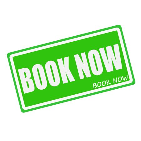 advertise with us: BOOK NOW white stamp text on green