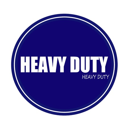 on duty: HEAVY DUTY white stamp text on blue Stock Photo
