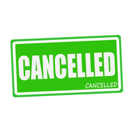 cancelled stamp: CANCELLED white stamp text on green
