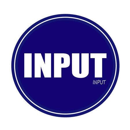input: INPUT white stamp text on blue Stock Photo