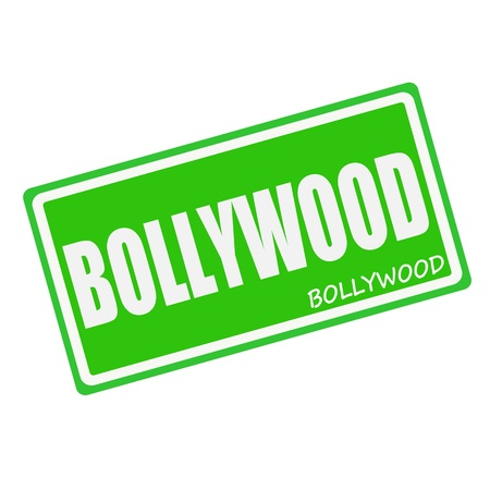 bollywood: BOLLYWOOD white stamp text on green Stock Photo