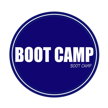 correctional facility: BOOT CAMP white stamp text on blue